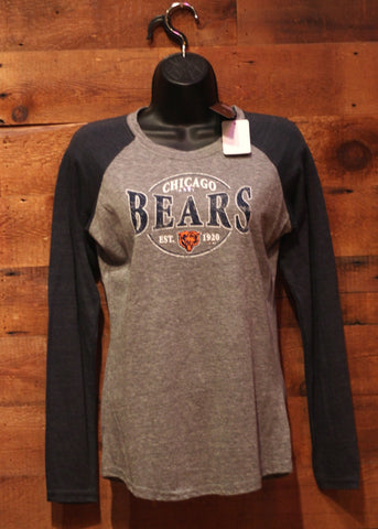 Women's Long Sleeve T-Shirt Chicago Bears Navy/Grey