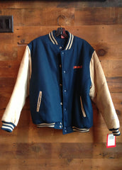 Youth Letterman Jacket Chicago Bears Navy with Tan Sleeves