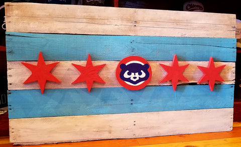 Wood Chicago Themed Cubbie Flag