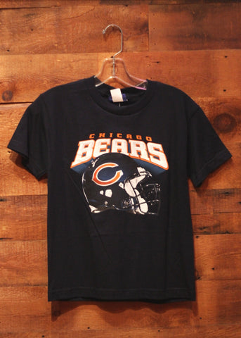 Youth T-Shirt Chicago Bears Navy with Team Helmet on Front