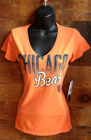Women's V-Neck T-Shirt Chicago Bears Orange Touch