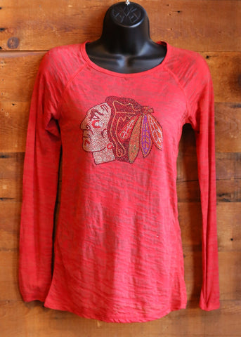 Women's Long Sleeve Chicago Blackhawks Red with Sparkle Logo