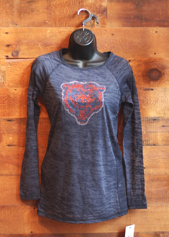 Women's Long Sleeve T-Shirt Mesh Chicago Bears Blue with Orange Bear Face
