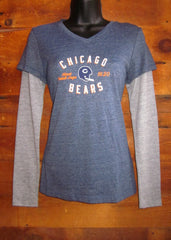 Women's T-Shirt Long Sleeve Chicago Bears 1920 BlueGrey Touch