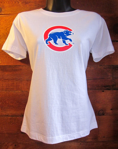 Women's T-Shirt Chicago Cubs Crawl White Soft As A Grape