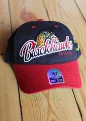 Hat Men's Chicago Blackhawks Black with Red Brim