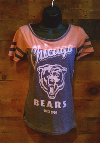 Womens Chicago Bears Orange and Blue short sleeve t-shirt