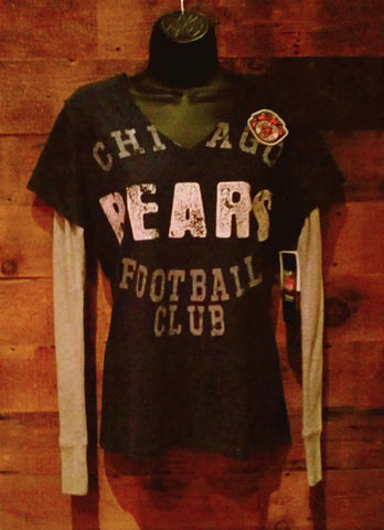womens Chicago Bears Football Club Blue Long Sleeve V-neck