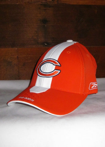 "Hat Bears Orange with White Stripe Down Front and Navy Blue, White, and Orange ""C"" Logo"
