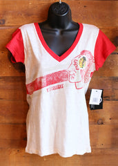 Women's V-Neck T-Shirt Chicago Blackhawks Cream with Red Sleeves