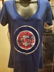 Blue Distressed Chicago Cubs V-Neck