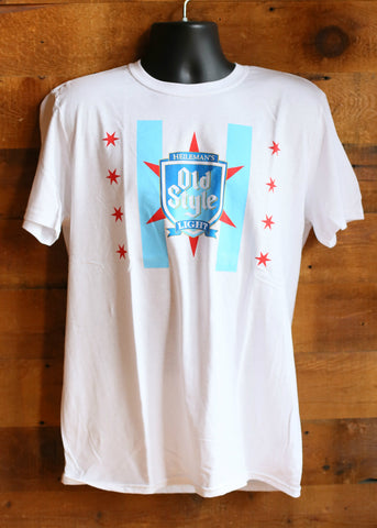 Men's T-Shirt Chicago Flag Old Style Light White