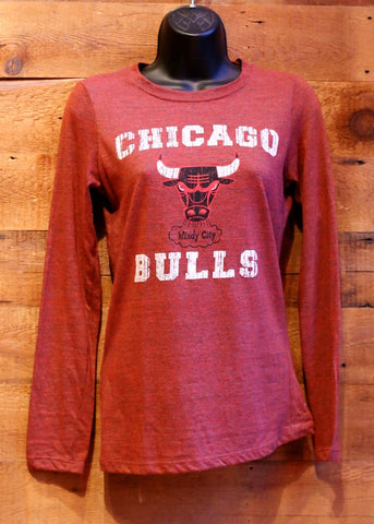 Women's Long Sleeve T-Shirt Chicago Bulls Red with Logo