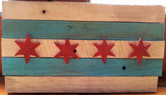 Distressed Wooden Chicago Flag