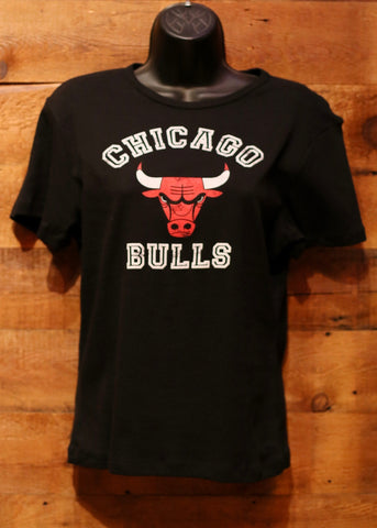 Youth Girls T-Shirt Chicago Bulls Black with Logo