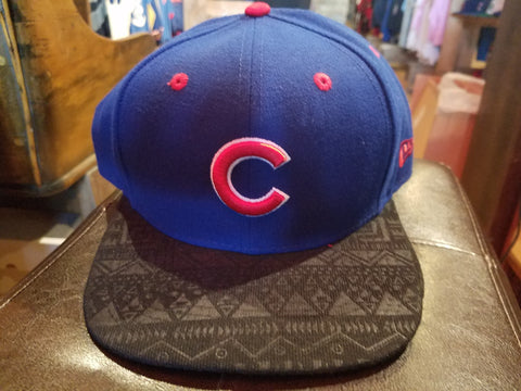New Era Blue Chicago Cubs Hat With black designed brim