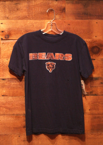 Youth T-Shirt Chicago Bears Navy With Orange Bear Face Logo