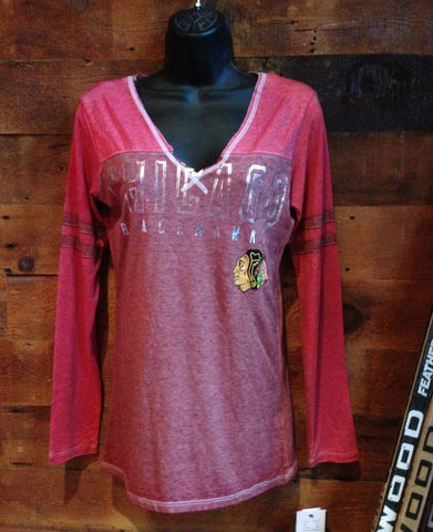Women's Chicago Blackhawks Vneck Long sleeve Tshirt by Touch