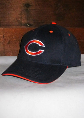 "Hat Bears Navy Blue with ""C"" Logo and Orange Accents"