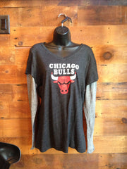 Women's Long Sleeve V-Neck Chicago Bulls Black with Grey Sleeves