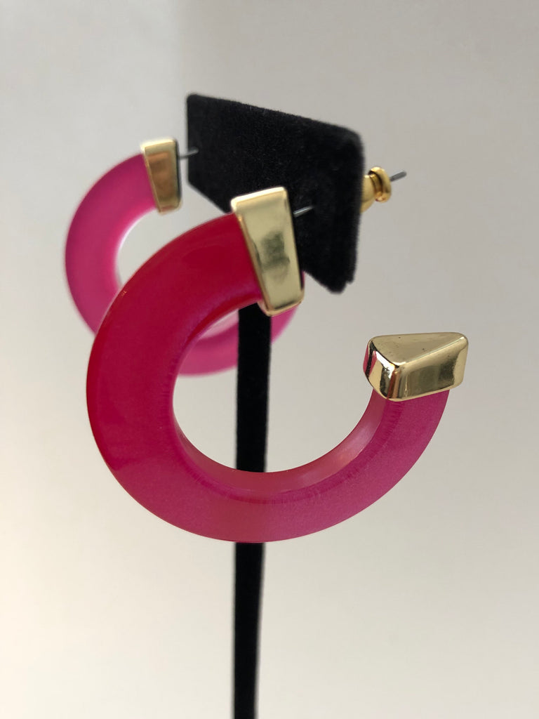 20/20 vivid pink, yellow or black acetate hoops - 1.5""