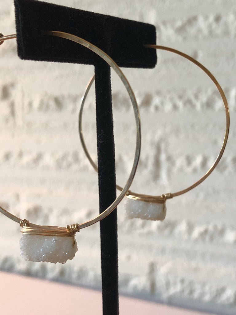 ELYSIUM PDX wrapped Gold hammered hoops