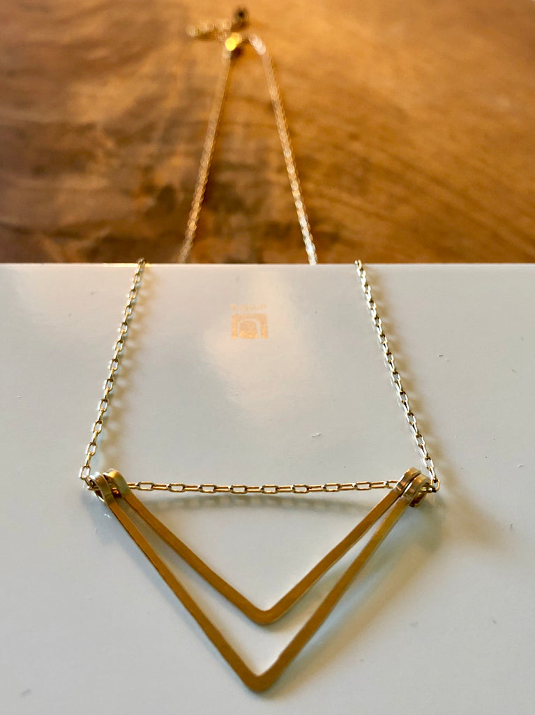 ELYSIUM PDX Gold fill double-V Necklace