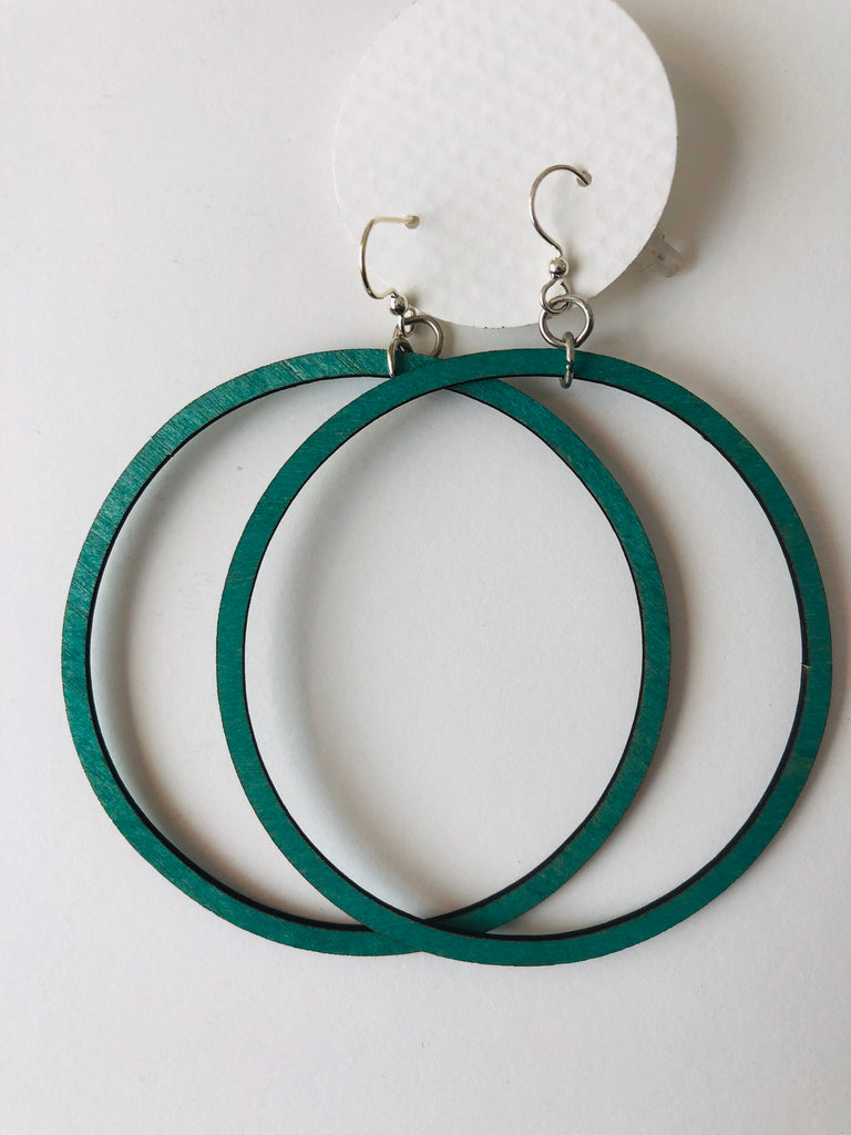 Laser cut birch hoops - assorted colors 2.5""
