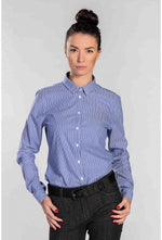 Slogan Alder Organic Cotton Shirt - Blue/White - Veenofs