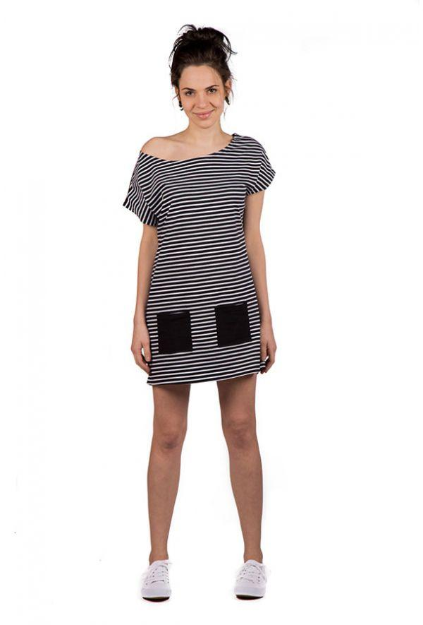 Slogan Audio Strips Tunic - Black/White - Veenofs