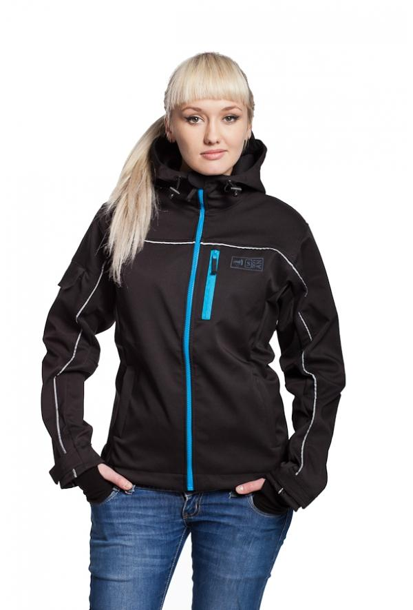 Slogan Women's Biker Jacket rPET Active Softshell - Black With Blue Zip - Veenofs