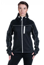 Slogan Women's Biker Jacket rPET Active Softshell - Black With White Zip - Veenofs