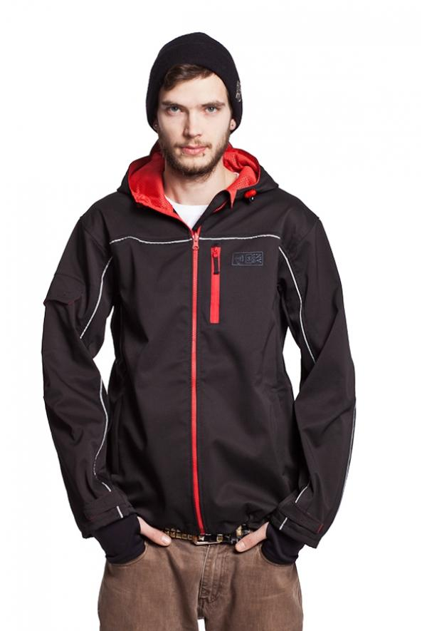 Slogan Biker Jacket rPET Active Softshell - Black With Red Zip - Veenofs