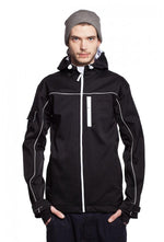 Slogan Biker Jacket rPET Active Softshell - Black With White Zip - Veenofs