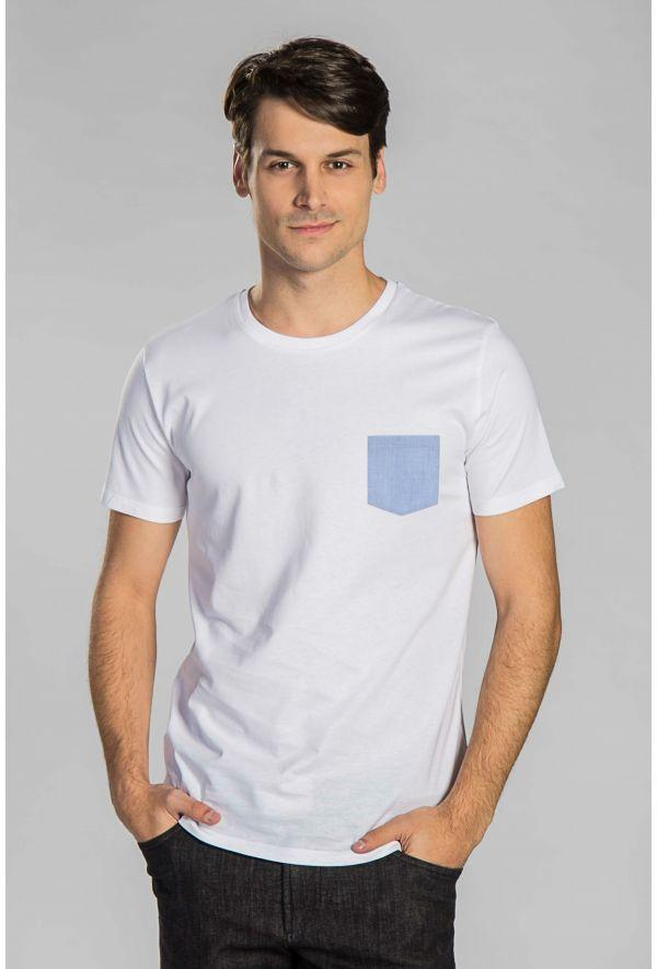 Slogan Basic T-Shirt With Pocket - White - Veenofs