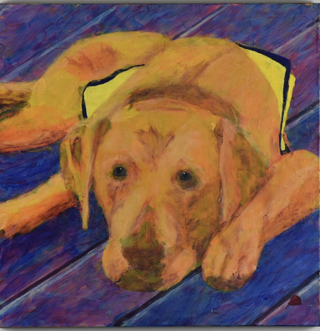 Growing Puppy - acrylic on canvas Paintings by artist Donald Ryker-Artist
