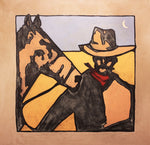 Dying Moon Cowboy-1748 - Acrylic /Mixed Media Paintings by artist Michael Swearngin