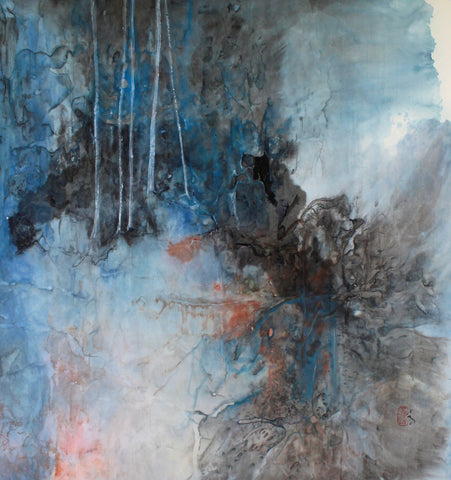 Spirit Mountain 2 - Ink and watercolor on ricepaper Paintings by artist Karen Kurka Jensen