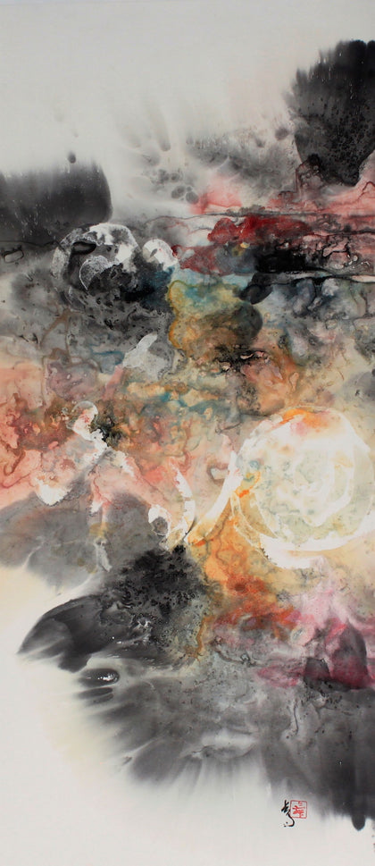 Heavenly Harmonies - Ink and watercolor on ricepaper Paintings by artist Karen Kurka Jensen