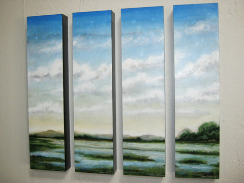 Verde Spring (Quad panels) - Acrylic Paintings by artist Joshua Dean Wiley