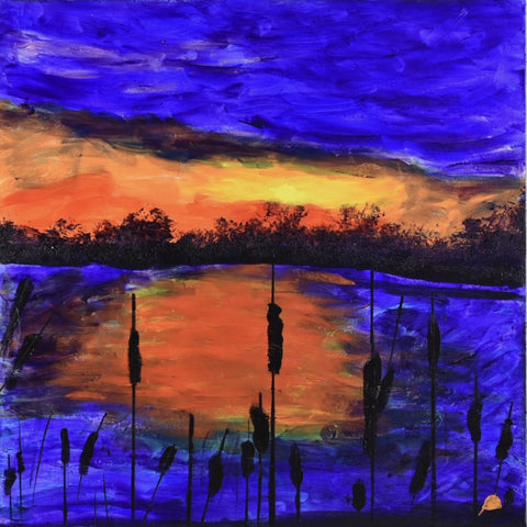 Dusk Lakeside - Pinetop, AZ - acrylic on canvas Paintings by artist Donald Ryker-Artist