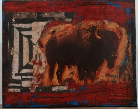 Golden Buffalo on Red - Mixed Media Paintings by artist Dave Newman