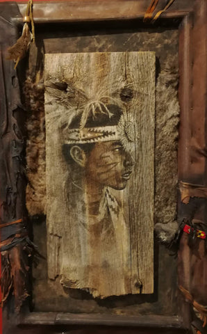 Native Child - Acrylic on Barn Wood Paintings by artist Larry Nielson