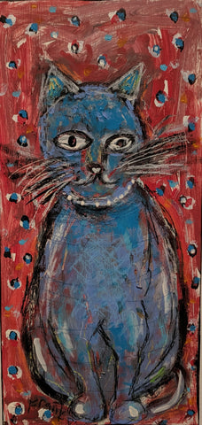 Blue Cat - Acrylic Paintings by artist Frank Discussion