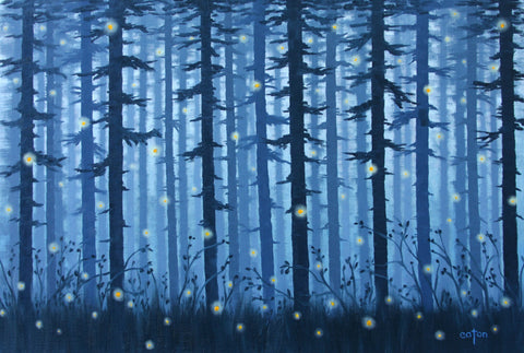 Fireflies IX - Oil Paintings by artist Kathleen Eaton