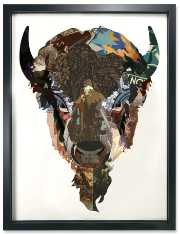 American Icon (Bison) - Handcrafted Collage Edition Collage by artist Leonardo Studios