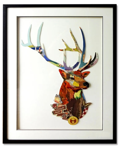 Forest Deer - Handcrafted Collage Edition Collage by artist Leonardo Studios