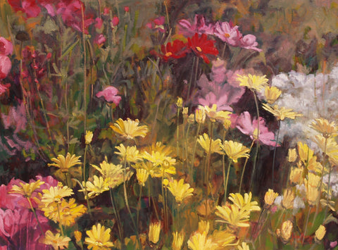 Cosmos and Yellow Daisies - Oil Paintings by artist John Horejs