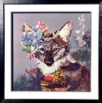 Fox and Flowers - Handcrafted Collage Edition Print by artist Leonardo Studios