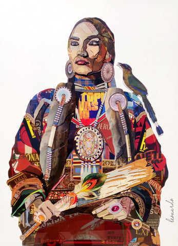Native Princess - Handcrafted Collage Edition Print by artist Leonardo Studios